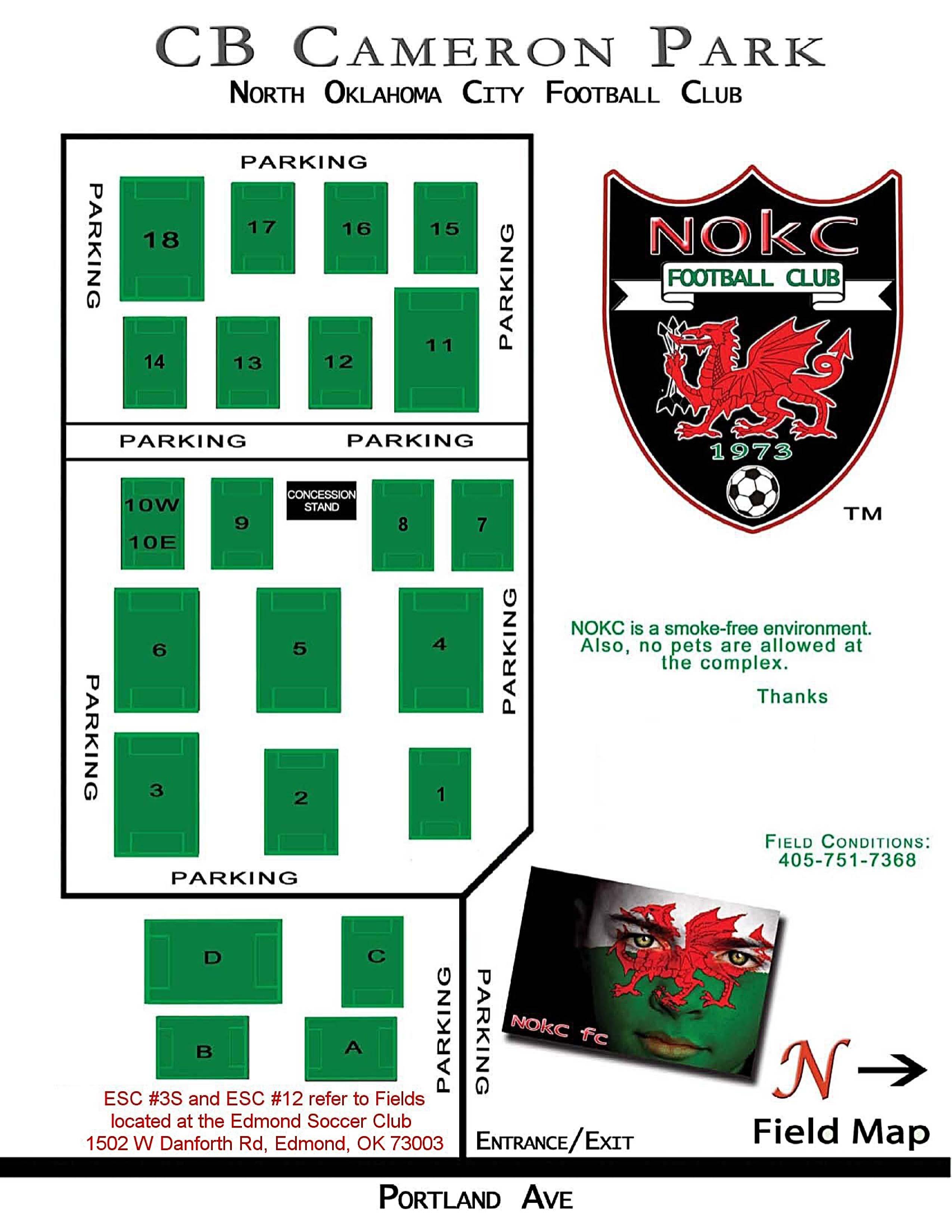 Edmond Soccer Club Field Map 2014 NOKC Field Map   North Oklahoma City Soccer Club Edmond Soccer Club Field Map